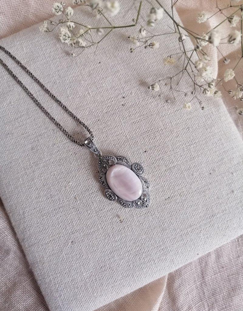 Ketting roze parelmoer