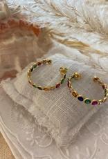 Hoop earrings with coloured stones