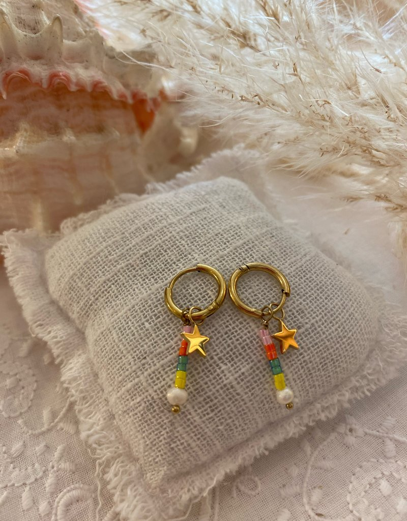 Gekleurde oorbellen met sterretje