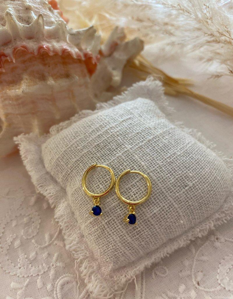 Little earrings with blue rhinestone