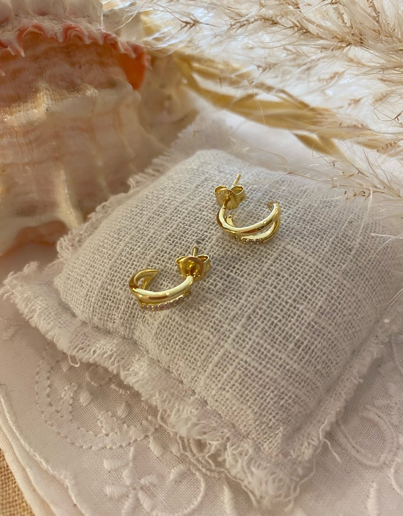 Little double earrings with stones