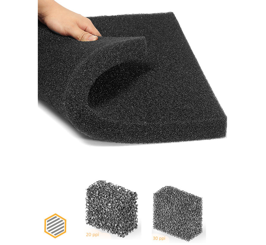 PPI 20  filter foam - Dimensions: from 0.5 to 2 m² - Thickness from 5 to 100 mm.