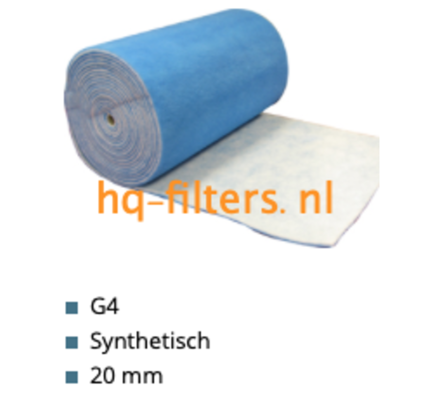 WTW Filtertuch G4-1 x 20 meter x 20 mm - 51104