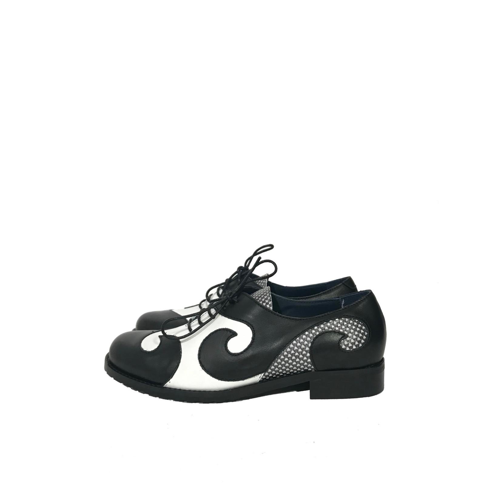 Veterschoenen zwart/wit