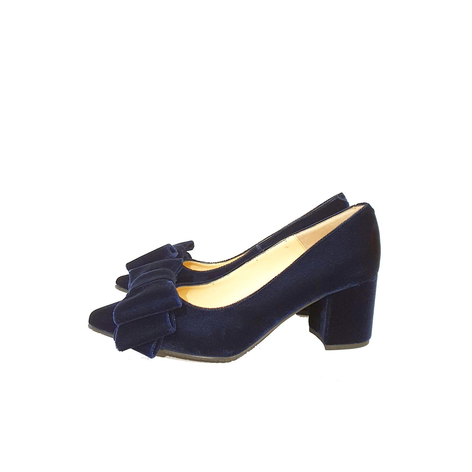 pump velours donker blauw