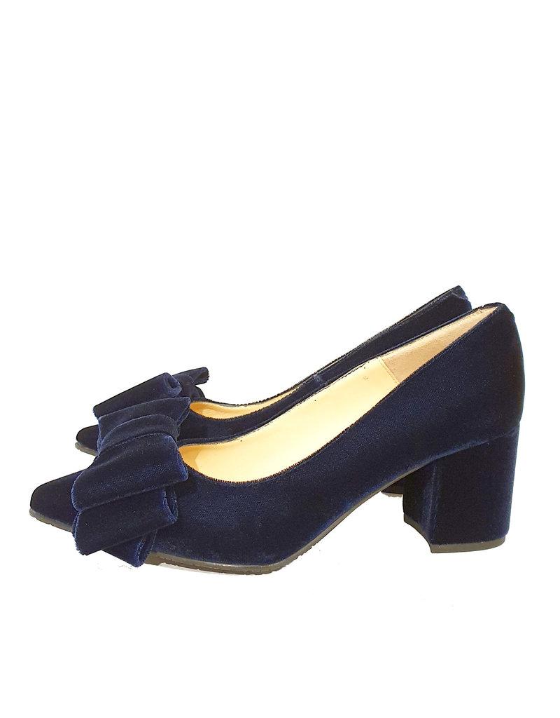 Mary Jane pump velours donker blauw