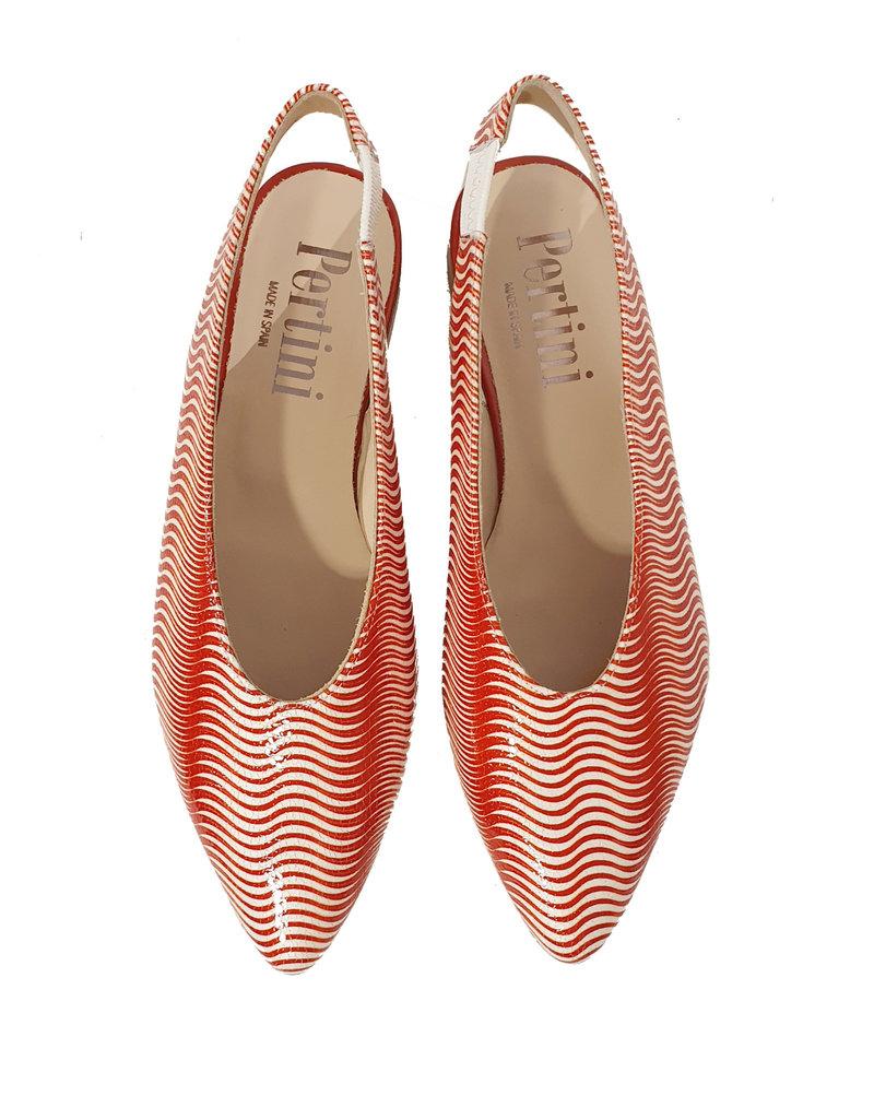 Pertini Slingback print rood/wit