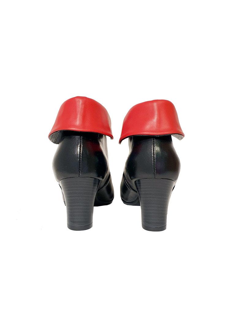 Vladi enkellaarsje zwart met rode kraag