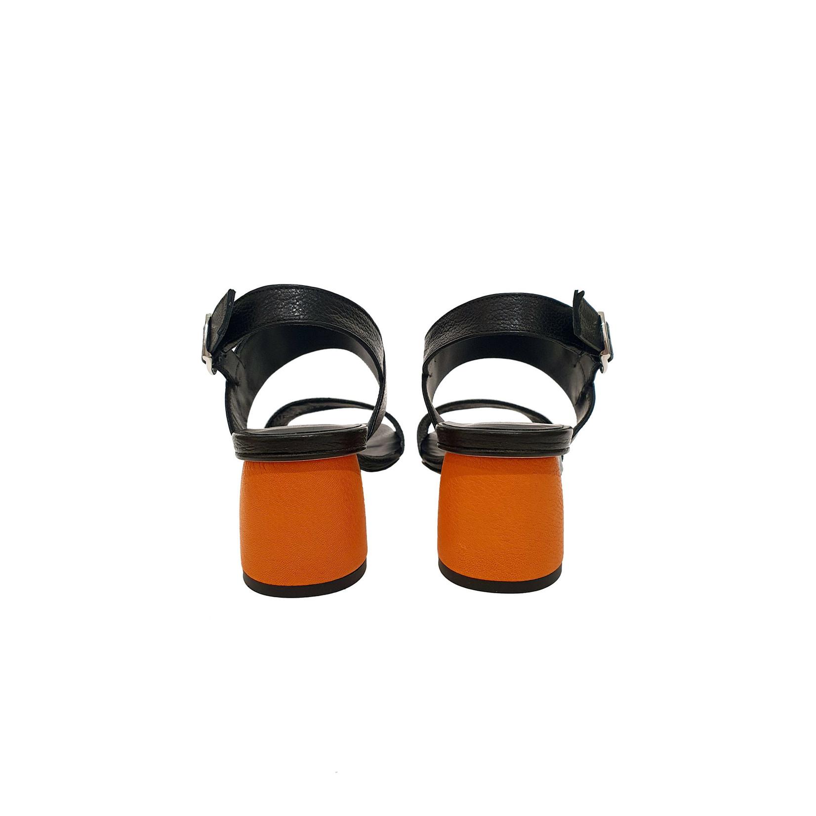 sandaal hak zwart/oranje