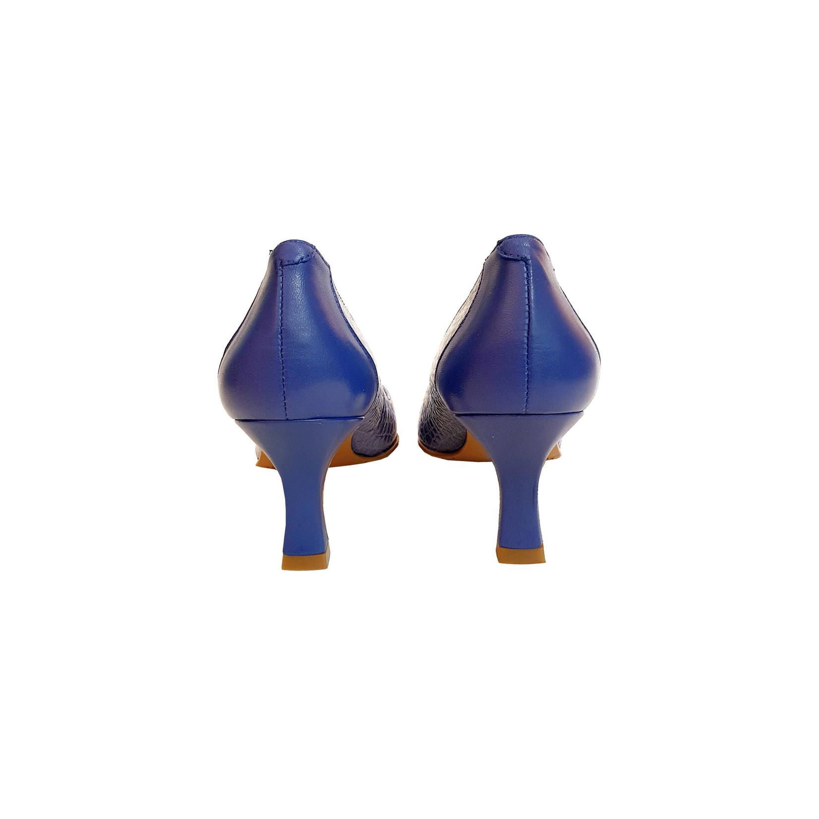 pump blauw/cognac