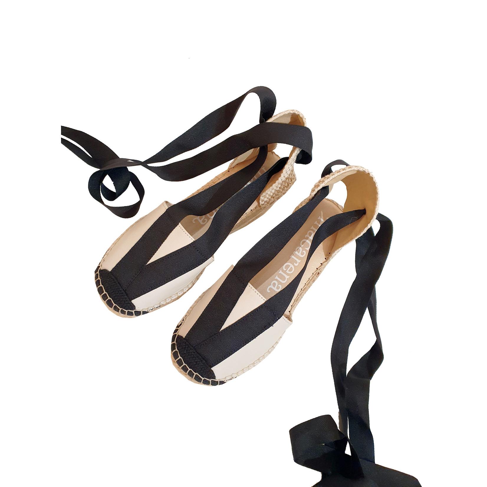 Macarena espadrilles sleehak wit/zwart