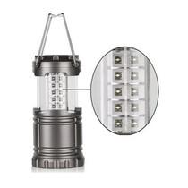 Campinglantaarn LED – Tentlamp - Waterbestendig – Ultra Helder – 30 LED Lampjes – Werkt op batterijen – Inklapbaar – Makkelijk mee te nemen – Geschikt voor camping, tuin, stroomloze ruimtes – Ideaal voor noodgevallen (stroomuitval) – Antraciet Grijs