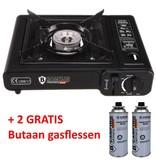 B Camping Germany Gasstel Camping - Gaskookstel - 1 Pits Koektoestel - Duitse Degelijkheid - Edelstaal - Electronische Ontsteking - Zwart