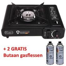 Gasstel Camping - Gaskookstel - 1 Pits Koektoestel - Duitse Degelijkheid - Edelstaal - Electronische Ontsteking - Zwart