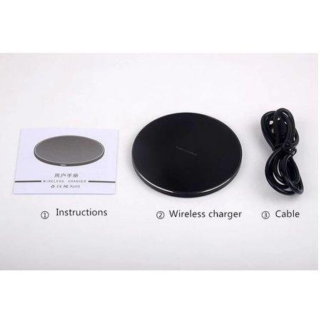 CARAMELLO Kabelloses Ladegerät Qi Standard Kabelloses Ladegerät | Rund Strak Design | Kompatibel mit iPhone X / 8/8 Plus | Samsung Galaxy S9 / S9 Plus / Hinweis 8 / S8 / S8 Plus | Für alle Qi-fähigen Telefone