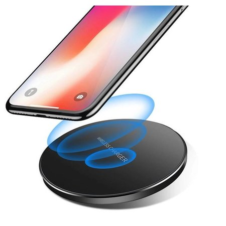 CARAMELLO Draadloze Oplader Qi Standaard | Wireless Charger | Rond Strak Design | Compatibel Met iPhone X/8/8 Plus | Samsung Galaxy S9/S9 Plus/Note 8/S8/S8 Plus |  Voor Alle Qi-Enabled Telefoons