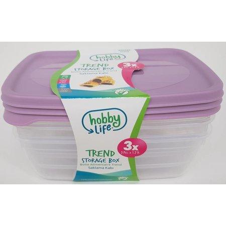 Hobby Life  Frische Speisenschalen 1,2 Liter 3 Stück Mikrowellen- und spülmaschinenfest BPA frei Enthält KEINE schädlichen Substanzen Hochwertig