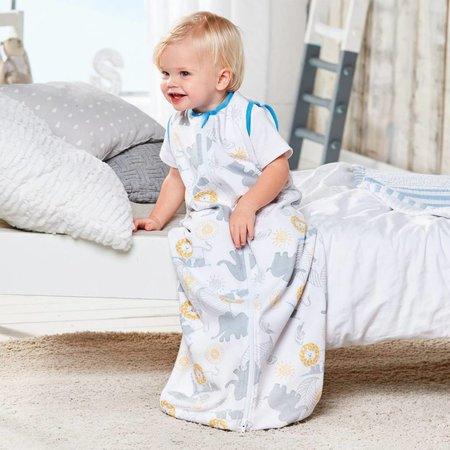 Papagino Baby Slaapzak | 100% Milieu Bewust Bio Katoen | Geproduceerd en Gecertificeerd Volgens de World Organic Textile Standard | 3 tot 12 maanden| Met Olifanten en Leeuwen  Print. 70 cm.