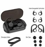 CARAMELLO Draadloze Waterproof Oordopjes - Bluetooth 5.0 - Super Bass Sound Met Ingebouwde TWS-Technologie -Verwisselbare Kleine en Grote Over-Oorhaken in Koptelefoon Voor Customized Fit