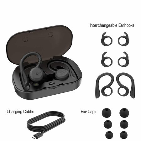 CARAMELLO Waterproof 5.0 True Wireless Earbuds,Super Bass Sound Built-in TWS Technology Interchangeable Small and Over-Ear Earhooks in Earphone