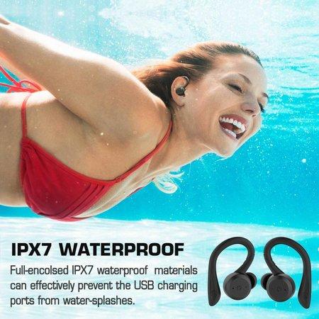 CARAMELLO Wasserdichte 5,0 Wahre Wireless-Ohrhörer, Super Bass Sound Eingebaute TWS-Technologie Austauschbare, kleine und über-Ohr-Ohrbügel im Kopfhörer