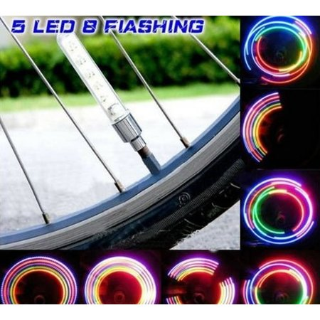 Bicycle Wheel Lights - LED Valve Lights - 5 Colors - Multiple Kniper Variations - Incl. Batteries - Also for Motor, Brommer, Auto