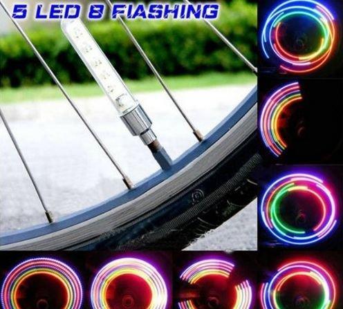 fietswielverlichting led ventielverlichting 5 kleuren meerdere knippervariaties incl batterijen ook