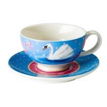 Tasse und Untertasse Set Swan Lake Porzellan | 150 ml
