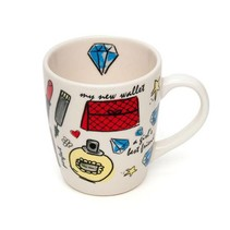 Latte & Co Mok met Blauwe Diamant Print | Porselein