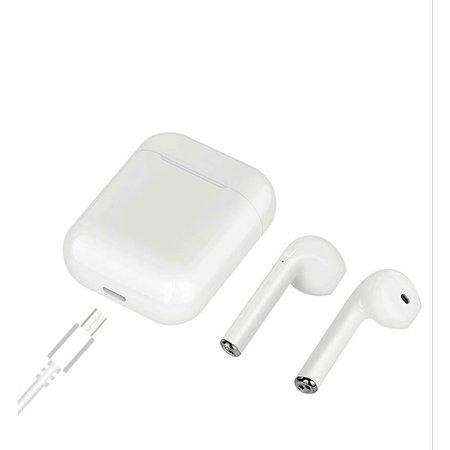CARAMELLO i 8X Draadloze Bluetooth Headset Sport Hoofdtelefoon met Ruisonderdrukkende microfoon - In-ear Stereohoofdtelefoon met Draagbare Oplaaddoos | Compatibel met Apple iPhone 7, 8, X en Samsung/Android (wit)