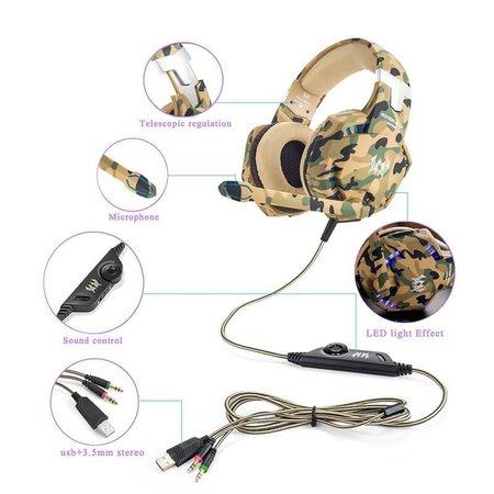 CARAMELLO Stereo Gaming Headset voor PS4/Xbox One Controller, Ruisonderdrukking Over Ear-Koptelefoon met Microfoon, Basrand & Led-Verlichting voor Laptop PC/Mac/PS3 en Nintendo Switch Games - Camouflage