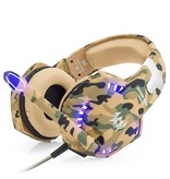 CARAMELLO Stereo Gaming Headset for PS4 / Xbox One Controller, Noise Reduction Over Ear Headphones with Mic, Bass Edge & LED Light for Laptop PC / Mac / PS3 and Nintendo Switch Games - Camouflage
