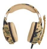 CARAMELLO Stereo-Gaming-Headset für PS4 / Xbox One-Controller, Rauschunterdrückung über Ohr Kopfhörer mit Mikrofon, Bass Edge & LED-Licht für Laptop PC / Mac / PS3 und Nintendo Switch-Spiele - Camouflage