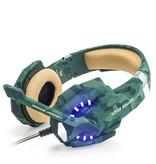 CARAMELLO Stereo Gaming Headset voor PS4, PC, Xbox One Controller, Ruisonderdrukking via oor-hoofdtelefoon Mic, LED-licht, Bass Surround, Soft Memory Oorbeschermers voor Laptop Mac Nintendo Switch -Camouflage