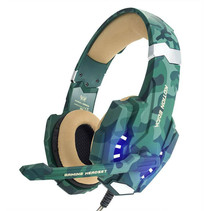 Stereo Gaming Headset voor PS4, PC, Xbox One Controller, Ruisonderdrukking via oor-hoofdtelefoon Mic, LED-licht, Bass Surround, Soft Memory Oorbeschermers voor Laptop Mac Nintendo Switch -Camouflage