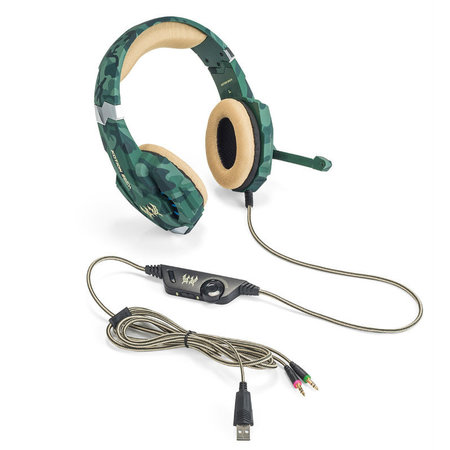 CARAMELLO Stereo Gaming Headset for PS4, PC, Xbox One Controller, Noise Cancelling Over Ear Headphones Mic, LED Light, Bass Surround, Soft Memory Earmuffs for Laptop Mac Nintendo Switch –Camouflage