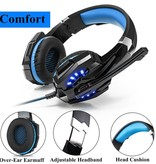 CARAMELLO Stereo Gaming Headset for PS4, PC, Xbox One Controller, Noise Cancelling Over Ear Headphones with Mic, LED Light, Bass Surround, Soft Memory Earmuffs for Laptop Mac Nintendo Switch Games