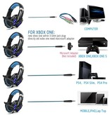 CARAMELLO Stereo Gaming Headset voor PS4, PC, Xbox One Controller, Ruisonderdrukking via oor-koptelefoon met microfoon, LED-lampje, Bass Surround, Soft Memory oorbeschermers voor laptop Mac Nintendo Switch Games
