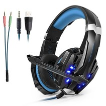 Stereo Gaming Headset voor PS4, PC, Xbox One Controller, Ruisonderdrukking via oor-koptelefoon met microfoon, LED-lampje, Bass Surround, Soft Memory oorbeschermers voor laptop Mac Nintendo Switch Games