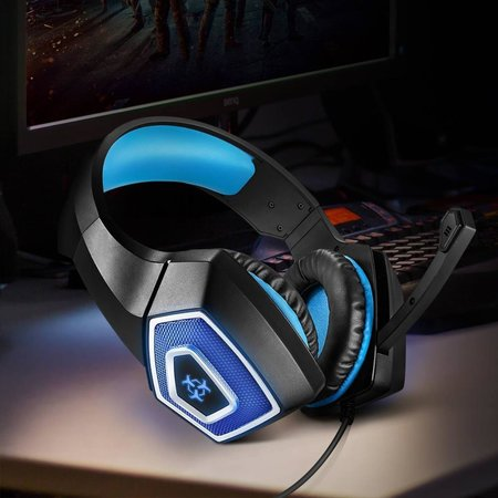 Arkartech Gaming Headset with Mic for Xbox One PS4 PC Switch Tablet Smartphone, Headphones Stereo Over Ear Bass 3.5mm Microphone Noise Canceling 7 LED Light Soft Memory Earmuffs(Free Adapter)