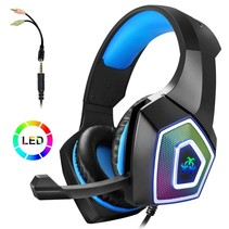 Gaming Headset met Microfoon voor Xbox One PS4 PC Switch Tablet Smartphone, Koptelefoon Stereo Over Ear Bass 3.5mm Microfoon Ruisonderdrukking 7 LED Licht Soft Memory Oorbeschermers (gratis adapter)