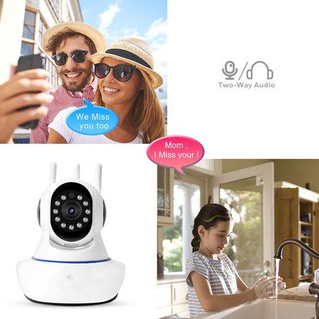 CARAMELLO Drahtlose 1080P-IP-Kamera, WiFi-Home-Security-Überwachungskamera für Baby / Elder / Pet / Nanny-Monitor, Pan / Tilt, Zweiwege-Audio & Nachtsicht
