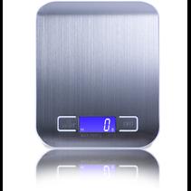 Keukenweegschaal Digitaal - Precisie Weegschaal  tot 5000 gram - RVS - Waterafstotend - Strak Luxe Design - Lichtgewicht - Touchscreen - Tarra Functie