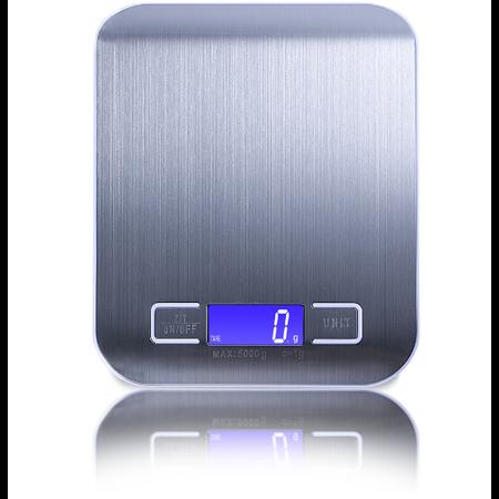 CARAMELLO Keukenweegschaal Digitaal - Precisie Weegschaal  tot 5000 gram - RVS - Waterafstotend - Strak Luxe Design - Lichtgewicht - Touchscreen - Tarra Functie