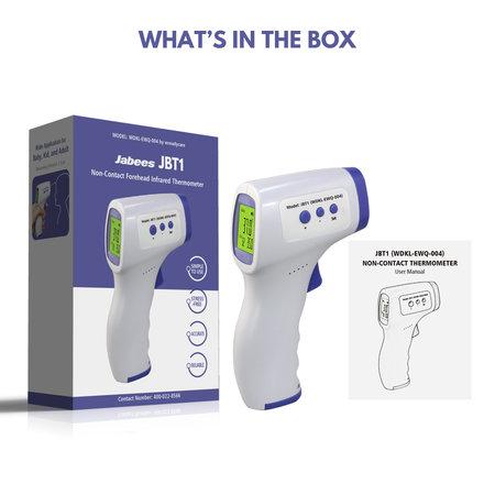 Jabees Infrarood Thermometer Hoofd - Contactloos Koorts Meten - Voor Kinderen en Volwassenen - Zeer Nauwkeurig