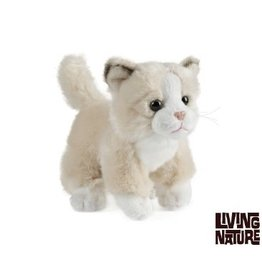 Living Nature Knuffel Kitten wit met creme