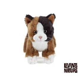 Living Nature Knuffel Poes zwart, bruin, wit