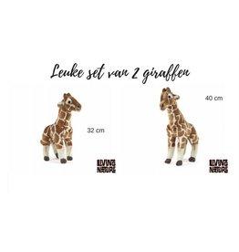Living Nature Knuffel Giraffen, set van 2 stuks
