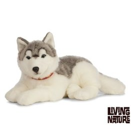 Living Nature Giant Husky Knuffel groot, grijs met wit