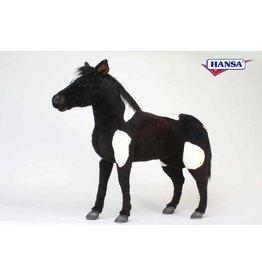 Hansa Knuffel Shetland Pony groot, zwart-wit, Hansa